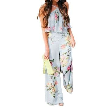 LMFIJ6 2017 Elegant Boho Floral Print Jumpsuit Women Romper Sexy Halter Backless Ruffles Summer Casual Beach Jumpsuit Long Overalls