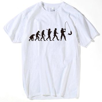 Evolution of Fishing Printed T-Shirts - Men's Crew Neck Novelty Tee