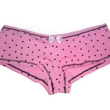 Small Pink Heart Print Bow Boy Short Womens Underwear