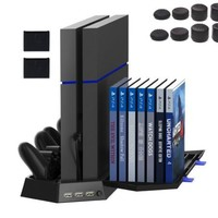 PS4 Vertical Stand Cooling Fan Controller Charging Station with CD Disk Storage For PlayStation 4 Console PS4 Controller + 8 cap