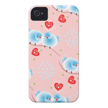 Cute Fluffy Blue Love Birds and Red Love Hearts iPhone 4 Case-Mate Cases