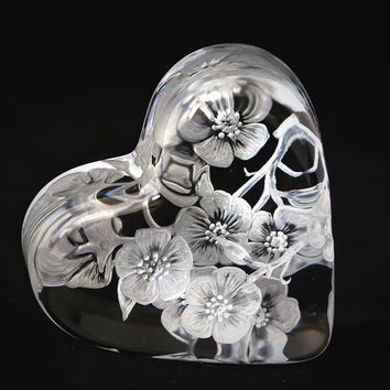 Hand Engraved Cherry Blossom, Baccarat Crystal