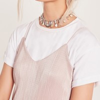 Missguided - Antique Drop Shell Choker Necklace Silver