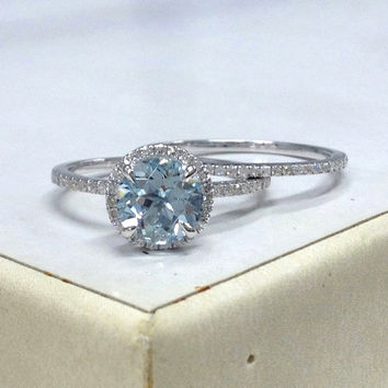 Genial Diamond Wedding Ring Set!Aquamarine Engagement Ring 14K White Gold!7mm  Round Cut Blue