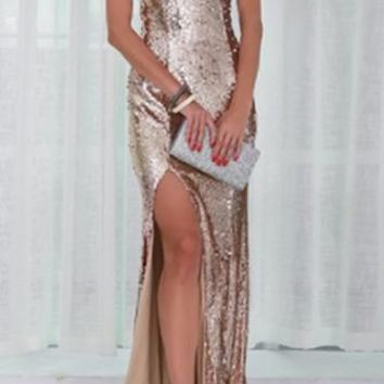 Catching Stars Gold Sequin Sleeveless Boat Neck Front Slit Maxi Dress Evening Gown