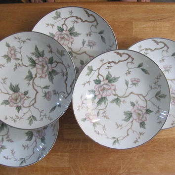 "Noritake CHATHAM Pink floral Soup bowls 7 3/8"" 5 coupe style, pastel Asian flowers on branches, Japan"