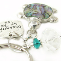 Beach Quote Keychain, Dreaming of the Sea Keychain, Sea Turtle Keychain, Abalone Turtle Keychain, Car Accessory