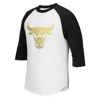 Mens Chicago Bulls adidas Black/White Precious Metals Raglan T-Shirt