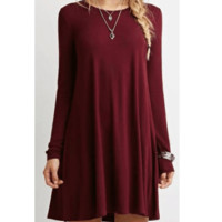 Pure color long sleeve loose thin dress
