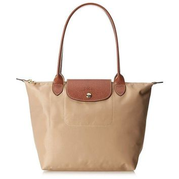 ONETOW Longchamp Le Pliage Beige Nylon Small Foldable Tote Bag