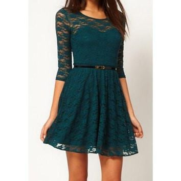 Green Cut Out Pleated Lace Dress