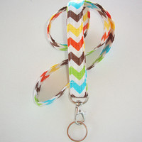 Lanyard  ID Badge Holder - Blue, Brown, Yellow, lime Green crosshatch Chevron - Lobster clasp and key ring Zig Zag - ZigZag