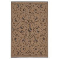 8'6 X 13' Indoor Outdoor Area Rug With Brown Black Floral Pattern