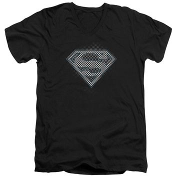 Superman - Checkerboard Short Sleeve Adult V Neck