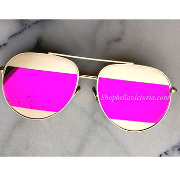 Diana Violet Mirrored Aviator Sunglasses