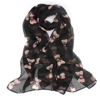 women Bow-tie chiffon scarf Sweet girl Chiffon Big Bowtie Soft Shawl Scarf Long Stole Wrap female Butterfly printing foulard