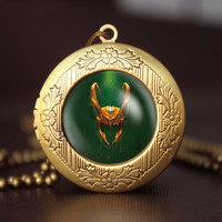 Loki, God of Mischief helmet symbol inspired loki vintage pendant locket necklace