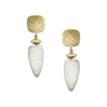 Marjorie Baer Post Drop Earrings in Brass and Silver with Puffed Flat Round Bead