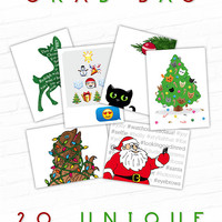 Christmas Card Pack, Holiday Card Set, Black Cat Christmas Card, Cat Holiday Card, Hand Drawn, Illustrated Greeting Card, Christmas Grab Bag