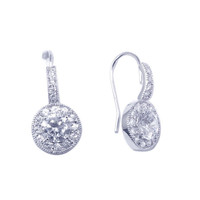 Sterling Silver Curve Round Hook Earrings