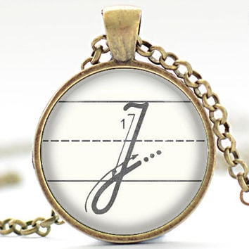 J Initial Necklace The Letter J Art Pendant Cursive by FrenchHoney