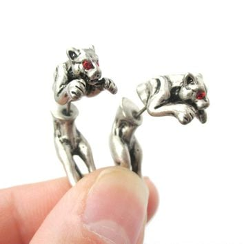 Fake Gauge Earrings: Jaguar Leopard Wild Cat Shaped Front and Back Stud Earrings in Silver
