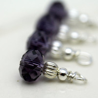 Purple Crystal Rondelle and Silver Bead Dangle Charm Drop Set