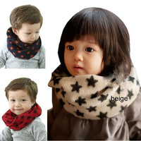 Kids Autumn Winter Scarf Chirldren Boys Girls Fashion Star O Ring Knitted Scarves Baby Child Neck Warmer Gift = 1958177860