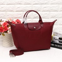 Longchamp Women's Nylon 1623 Foldable Tote Bag - Wine Red Color