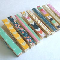 THE ORIGINAL Charming 10 Piece Decorative Clothespins. Extra Clothespins for Your Photo Clothesline.  College Dorm Decor.
