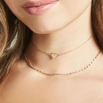 Heart Charm Choker Set