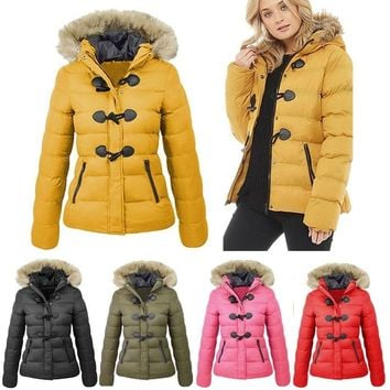 Winter Women's Cotton-padded Hooded Jacket Thickened Warm Coat