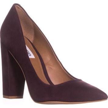 Steve Madden Pointed Toe Block Heel Pumps, Burgundy, 9 US