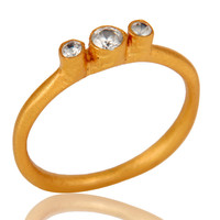 18K Yellow Gold Plated Brass Three Pieces Cubic Zirconia Stacking Ring