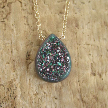 Window Druzy Necklace Peacock Titanium Drusy Quartz 14K GF Cable Chain