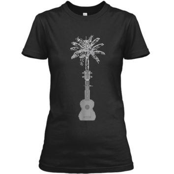 Funny Palm Tree Ukulele Shirt Beach Music Lover Cool T-shirt Ladies Custom