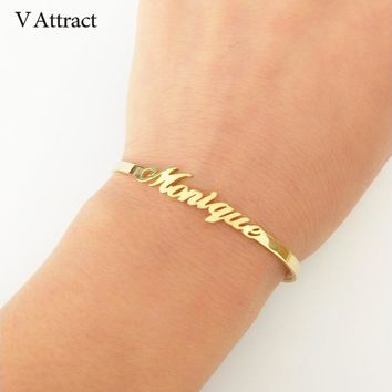 V Attract Personalized Hand Link BFF Jewelry Kpop Custom Name Bracelets Bangles Women Men Bijoux Femme Gold Erkek Bileklik
