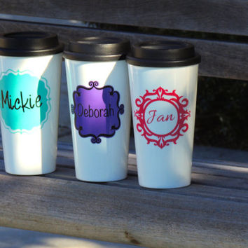 insulated coffee cup, plastic coffee cup, personalized cup, stocking stuffer, tea tumbler, coffee tumbler, holiday gift, wedding party favor