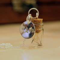 Dandelion Wish Necklace: Seeds in a Bottle Sterling Silver