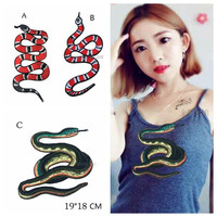 Precision Work Embroidery Snake Patch Embroidery Flower Snake Safflower Applique Large Python Patch For cloth Accessory