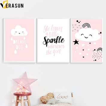 VERASUN Cloud Wall Art Canvas Painting Pop Art Poster Roze Home Decor Baby Girl Room Decor Nordic Style Kids Decoration Quadro