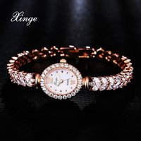 Xinge Luxury Women Rose Gold Watches Zircon Crystal Bracelet Watch Business Quartz Wristwatches Ladies Dress Fashion Wrist Watch