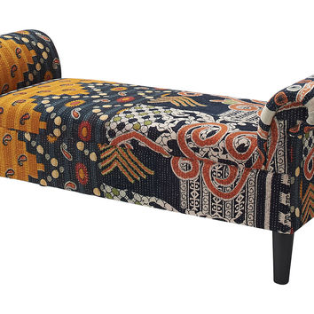 Kantha Roll-Arm Bench, Navy/Gold, Entryway Bench