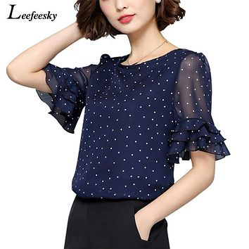 Women Polka Dot Short Ruffled Sleeve Shirt Top