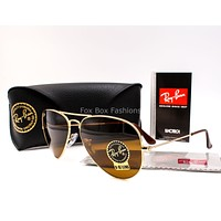 RAY-BAN 3025 001/33 Gold Aviator Sunglasses Brown Glass Lens ~ 58mm (Standard)