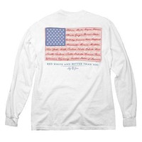 American Flag Long Sleeve Pocket Tee in White by Lily Grace