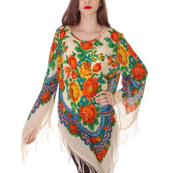 1960s Vintage Ethnic Fine Wool Tunic Blouse Fringe Floral Size O/S