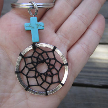Turquoise Cross Dream Catcher Keychain Black