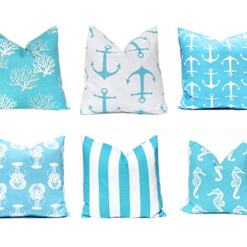 Turquoise Pillow Covers, Pillows, Nautical Decor, Decorative Throw Pillow Cover Beach Decor 16 x 16 Coastal Blue Aqua WhiteTurquoise Pillows