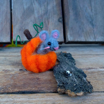 Halloween mouse in pumpkin Halloween miniature animal décor Tiny felt mouse in pumpkin Needle felt ornament Eco friendly Halloween mice